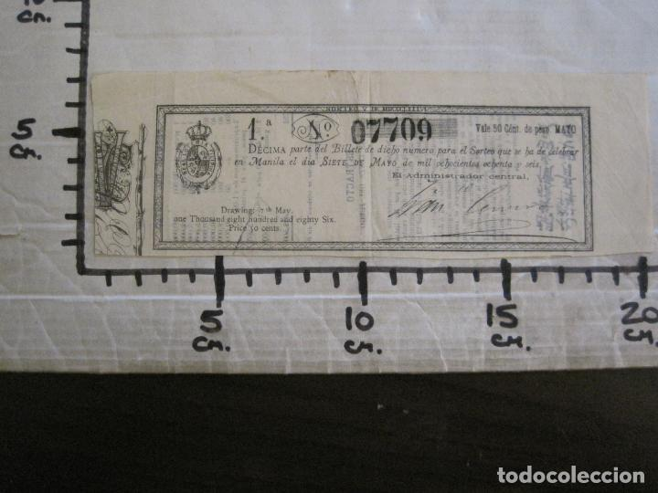 Lotería Nacional: REAL LOTERIA FILIPINA-MANILA-DECIMA PARTE BILLETE-AÑO 1886-VER FOTOS-(V-16.443) - Foto 11 - 161273074