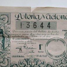 Lotería Nacional: 3 BILLETES DE LOTERÍA 1942. Lote 161468346