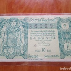 Lotería Nacional - LOTERIA NACIONAL. AÑO 1951. SORTEO Nº 11 ------ MADRID 16 ABRIL 1951 - 164143738