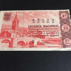 Lotería Nacional: LOTERIA AÑO 1962 SORTEO 35. Lote 164890152