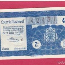 Lotería Nacional: LOTERIA NACIONAL SORTEO 21 DE 1957. Lote 164914062