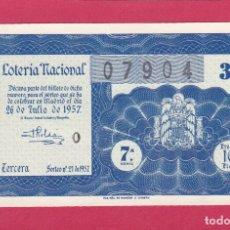 Lotería Nacional: LOTERIA NACIONAL SORTEO 21 DE 1957. Lote 164914086