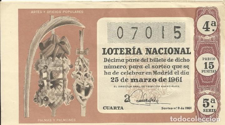 BILLETE LOTERÍA NACIONAL. 25 DE MARZO DE 1961. Nº 07015. ADMÓN 3. PLAZA PALACIO, LETRA A. BARCELONA. (Coleccionismo - Lotería Nacional)