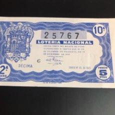 Lotería Nacional: LOTERIA AÑO 1945 SORTEO 35. Lote 165996682
