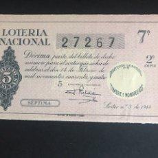 Lotteria Nationale Spagnola: LOTERIA AÑO 1944 SORTEO 5. Lote 166157582