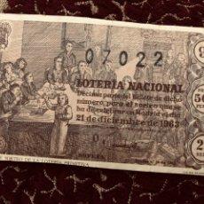 Lotería Nacional: DÉCIMO LOTERÍA NACIONAL 1963. Lote 166216657