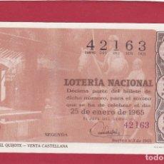 Lotería Nacional: LOTERIA SORTEO 3 DE 1965 RUTA DEL QUIJOTE VENTA CASTELLANA. Lote 166705766