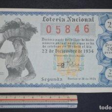 Lotería Nacional: LOTERÍA NACIONAL. SORTEO Nº 36. 22 DE DICIEMBRE DE 1954. ROMANJUGUETESYMAS.. Lote 168488828