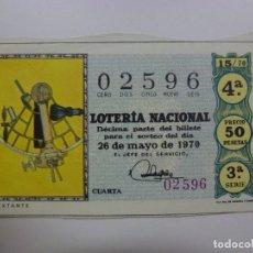 Lotería Nacional: LOTERÍA NACIONAL. SORTEO 26 DE MAYO DE 1970. ADMINISTRACIÓN DE BRAVO MURILLO EN LAS PALMAS.. Lote 168908600
