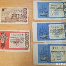 Lotería Nacional: 5 BILLETES DE LOTERÍA NACIONAL, 4 DE 1961 Y OTRO DE 1965. Lote 169030760