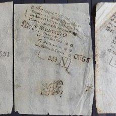 Lotería Nacional: 3 BILLETES O CÉDULAS DE LOTERÍA PRIMITIVA ANTIGUA DE LOS AÑOS 1797, 1827 Y 1854. Lote 169233580