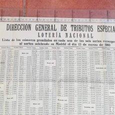 Lotería Nacional: CARTEL LOTERÍA NACIONAL 1960, NÚMEROS PREMIADOS. DIRECCIÓN GENERAL DE TRIBUTOS ESPECIALES. Lote 171147709