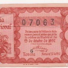 Lotería Nacional: LOTERIA NACIONAL (TAMAÑO GRANDE, ESCUDO FRANCO) SORTEO Nº 30 DE 1957 Nº 07063. Lote 171193995
