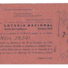 Lotería Nacional: PARTICIPACIÓN LOTERÍA NACIONAL, SORTEO EXTRAORDINARIO NAVIDAD 1942 - VILLANUEVA Y GELTRÚ. Lote 171215648
