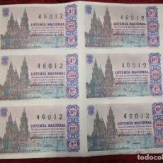 Lotería Nacional: LOTERIA NACIONAL 6 CUPONES DE UN PLIEGO INCOMPLETO, Nº 46012 22 DIC 1962 ADMON 3 MADRID + INFO 1S. Lote 171620104