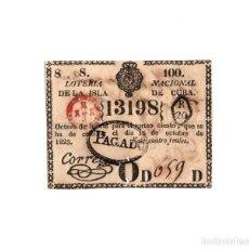 Lotería Nacional: LOTERÍA NACIONAL DE LA ISLA DE CUBA. 4 REALES - 16 OCTUBRE1823. Lote 171705468