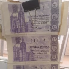 Lotería Nacional: 3 DECIMOS DE LOTERÍA NACIONAL 1963. Lote 171729875
