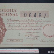 Loterie Nationale: LOTERÍA NACIONAL. SORTEO Nº 35. 14 DE DICIEMBRE DE 1944. ROMANJUGUETESYMAS.. Lote 172355542