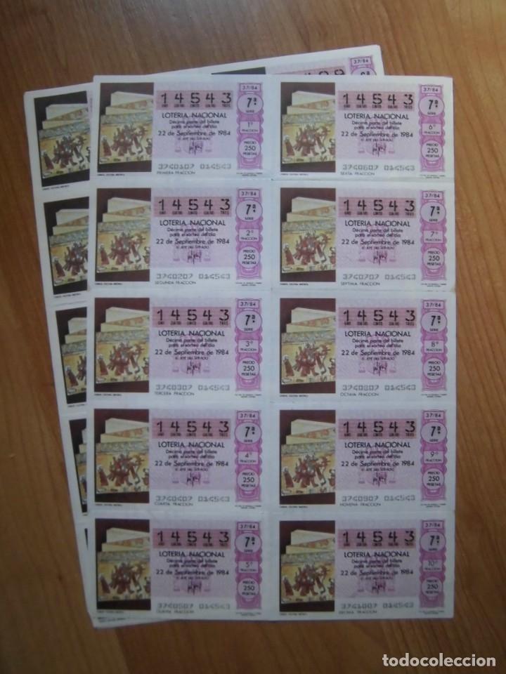 LOTE 3 PLIEGOS BILLETES LOTERÍA NACIONAL 37/84 DE 3 NÚMEROS DISTINTOS (Coleccionismo - Lotería Nacional)