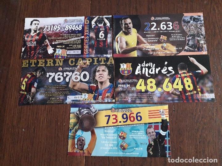 LOTE DE 5 PAPELETAS PARTICIPACIONES DE LOTERÍA DE NAVIDAD DE FUTBOL F.C. BARCELONA (Coleccionismo - Lotería Nacional)