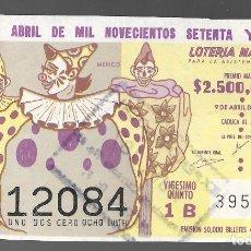 Lotería Nacional: BILLETE DE LOTERIA NACIONAL DE MEXICO, NUEVE DE ABRIL DE MIL NOVECIENTOS SETENTA Y CINCO. . Lote 173619819