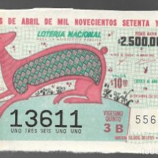 Lotería Nacional: BILLETE DE LOTERIA NACIONAL DE MEXICO, DIECISEIS DE ABRIL DE MIL NOVECIENTOS SETENTA Y CINCO. . Lote 173619995