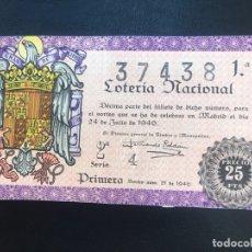 Lotería Nacional: LOTERIA AÑO 1946 SORTEO 21. Lote 173871595