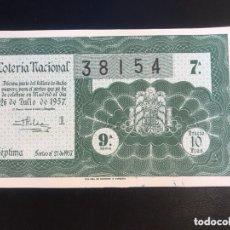 Lotería Nacional: LOTERIA AÑO 1957 SORTEO 21. Lote 173921100