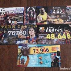 Lotería Nacional: LOTE DE 5 PAPELETAS PARTICIPACIONES DE LOTERÍA DE NAVIDAD DE FUTBOL F.C. BARCELONA. Lote 175028048