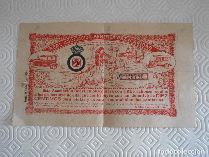 REAL ASOCIACION BENEFICA PAZ Y CARIDAD. GIJON. PAPELETA EN COMBINACION CON LA LOTERIA NACIONAL DEL 2 (Coleccionismo - Lotería Nacional)