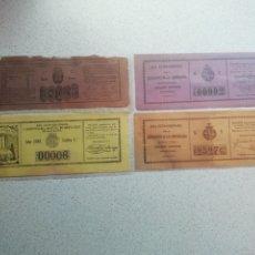Lotería Nacional: LOTERIA - REAL CASA DE CARIDAD DE BARCELONA RIFA 1881. LOTE DE 4 BOLETOS DIFERENTES. Lote 175332148