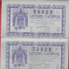 Lotería Nacional: LOTERIA NACIONAL SORTEO -5 -1947 - 15 DE FEBRERO DE 1947 - SERIE 6ª COMPLETA - NUMERO 39929 *. Lote 176059062
