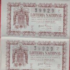 Lotería Nacional: LOTERIA NACIONAL SORTEO -5 -1947 - 15 DE FEBRERO DE 1947 - SERIE 5ª COMPLETA - NUMERO 39929 *. Lote 176060577