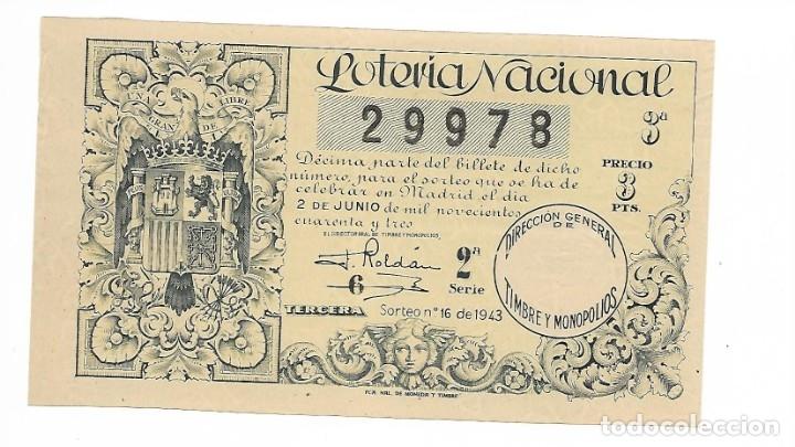 LOTERIA NACIONAL AÑO 1943 SORTEO 16 (Coleccionismo - Lotería Nacional)