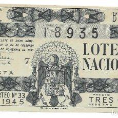 Lotería Nacional: LOTERIA NACIONAL AÑO 1945 SORTEO 33. Lote 176267545