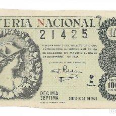 Lotería Nacional: LOTERIA NACIONAL AÑO 1945 SORTEO 36. Lote 176267637