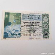 Lotería Nacional: LOTERÍA NACIONAL, SORTEO 46/76, 27 NOVIEMBRE 1976, COMUNICACIONES, TELEX. Lote 176925913