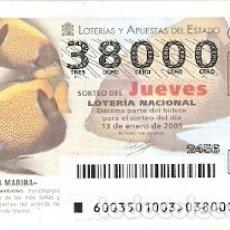 Lotería Nacional: LOTERÍA JUEVES, SORTEO 3 DE 2005. PEZ ANGEL MAJESTUOSO. REF. 10-0503. Lote 222392068