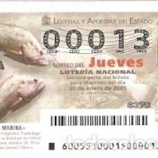 Lotería Nacional: LOTERÍA JUEVES, SORTEO Nº 5 DE 2005. MERO. REF. 10-0505. Lote 177108284