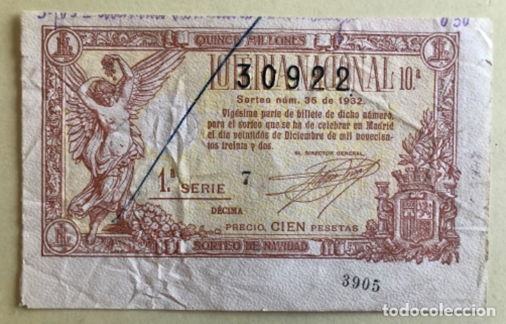 DECIMO LOTERIA NACIONAL- SORTEO 36 NAVIDAD AÑO 1.932 (Coleccionismo - Lotería Nacional)