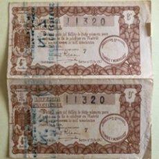 Lotería Nacional: DOS DECIMOS LOTERIA NACIONAL- SORTEO 25 AÑO 1943- SELLO CARTAGENA-MURCIA-. Lote 177184785