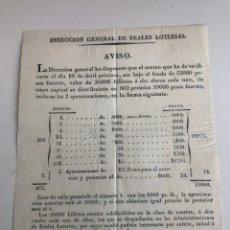 Lotería Nacional: DISPOSICIÓN DE LA DIRECCIÓN GENERAL DE LOTERÍAS SOBRE EL SORTEO DEL 10 DE ABRIL DE 1834. Lote 177583983