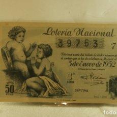 Lotería Nacional: DECIMO LOTERIA 5 ENERO 1952 BUEN ESTADO. Lote 177802089