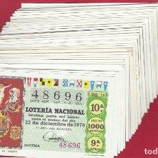 Lotería Nacional: LOTERIA NACIONAL AÑO COMPLETO 1970 36 DECIMOS. Lote 178179200