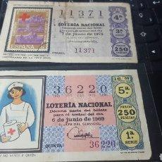 Lotería Nacional: 2 DECIMOS CRUZ ROJA. LOTERÍA NACIONAL. 16/69 Y 22/75. Lote 178245467