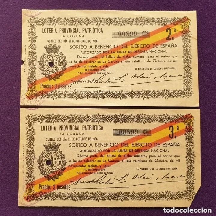 2 BILLETES LOTERIA PATRIOTICA LA CORUÑA.SORTEO 21 OCTUBRE 1936.A BENEFICIO DEL EJERCITO.GUERRA CIVIL (Coleccionismo - Lotería Nacional)