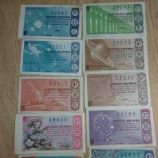 Lotería Nacional: 10 ANTIGUOS DECIMOS DE LOTERIA NACIONAL DIFERENTES MESES Y ADMINISTRACIONES DE 1964. Lote 178593681