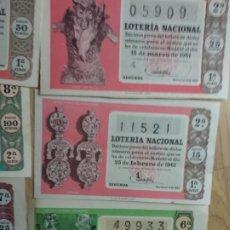 Lotería Nacional: 10 ANTIGUOS DECIMOS DE LOTERIA NACIONAL DIFERENTES MESES Y ADMINISTRACIONES DE 1961. Lote 178593781