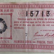 Lotería Nacional: DECIMO- LOTERIA NACIONAL SORTEO 19 AÑO 1.921- SELLO VALENCIA. Lote 179405170