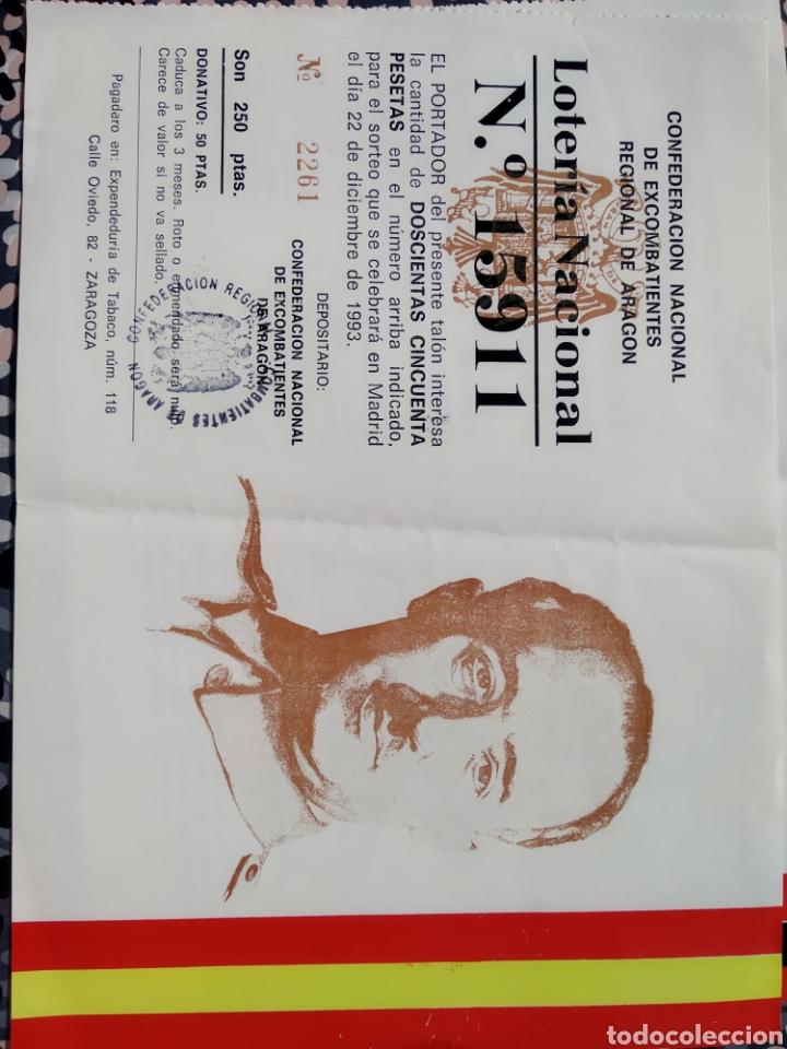 LOTERÍA CONFEDERACIÓN NACIONAL DE EXCOMBATIENTES REGIONAL DE ARAGON. 1993 (Coleccionismo - Lotería Nacional)